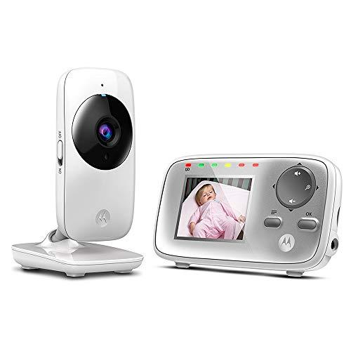 Motorola MBP 482 - Babyphone vidéo avec écran 2.4', éco mode et vision nocturne, couleur blanc