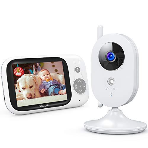 Victure Babyphone Caméra Moniteur bébé 3.2' LCD Couleur Vidéo Bébé Surveillance 2.4GHz...
